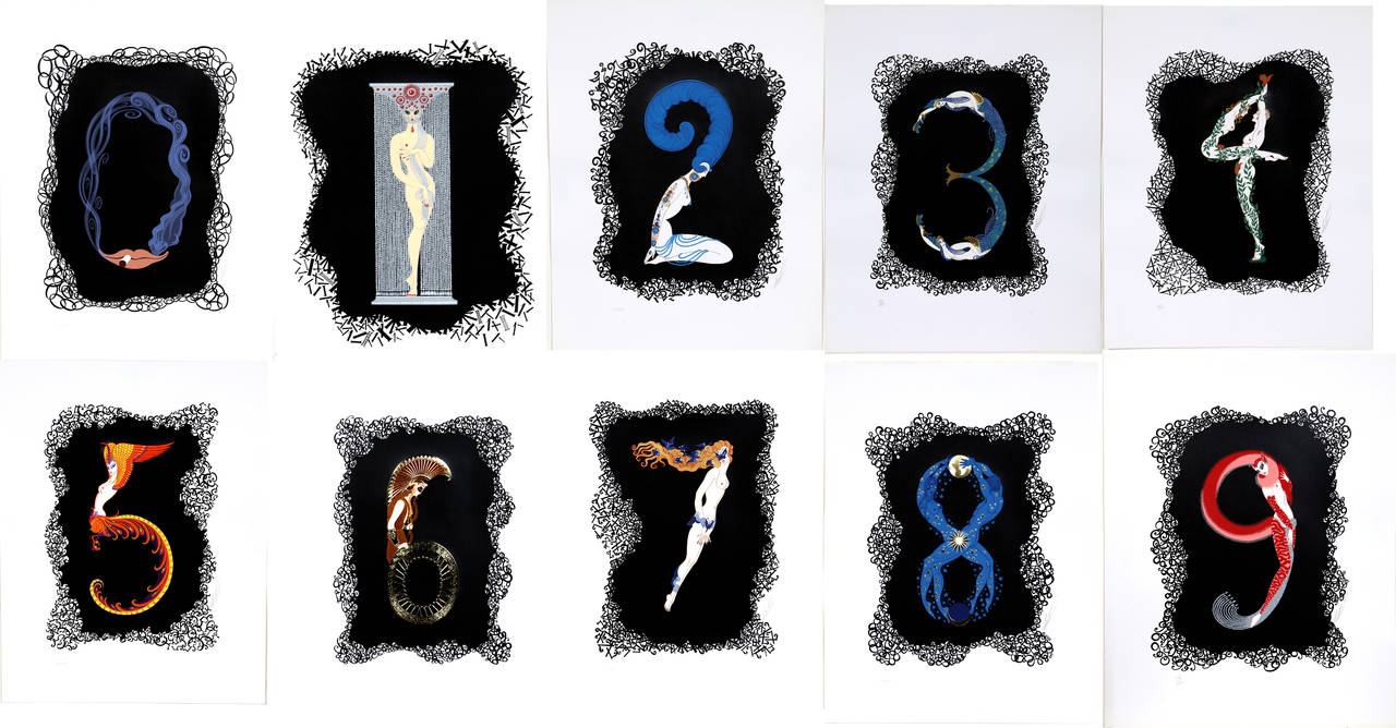 Erte - NUMBERS SUITE - Signed & Numbered Serigraphs
