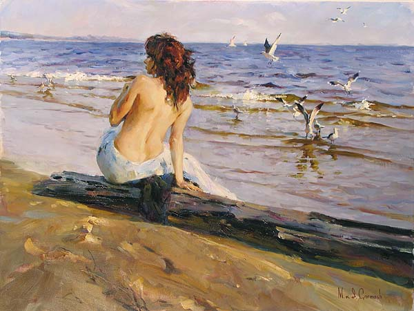 Michael and Inessa Garmash - Beauty on the Shore - Original Painting