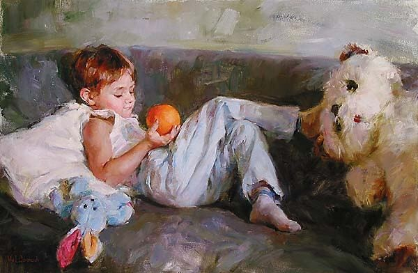 BOY WITH ORANGE  Giclee 24 x 36 inches Edition Size: 295 by Michael and Inessa Garmash