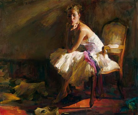 Contemplation  Embellished Giclee on Canvas by Michael and Inessa Garmash