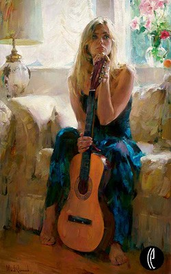 Guitar Play  Embellished Giclee on Canvas by Michael and Inessa Garmash