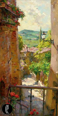 Heart of the Village  Embellished Giclee on Canvas by Michael and Inessa Garmash