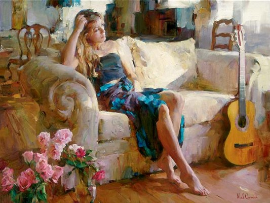 MUSIC IN THE AFTERNOON  Embellished Giclee on Canvas 30 x 40 inches Edition Size: 50 by Michael and Inessa Garmash