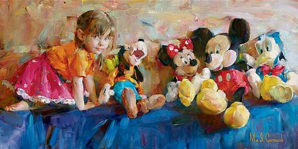 Party of Five  Embellished Giclee on Canvas by Michael and Inessa Garmash