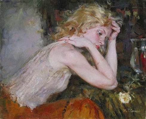 Silent Thoughts  Embellished Giclee on Canvas by Michael and Inessa Garmash