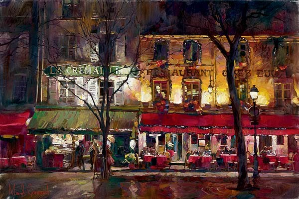 Winter in Paris  Embellished Giclee on Canvas by Michael and Inessa Garmash