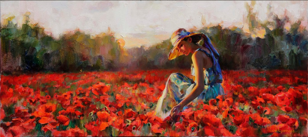 In the Red Sea of Flowers - original painting - by Michael and Inessa Garmash