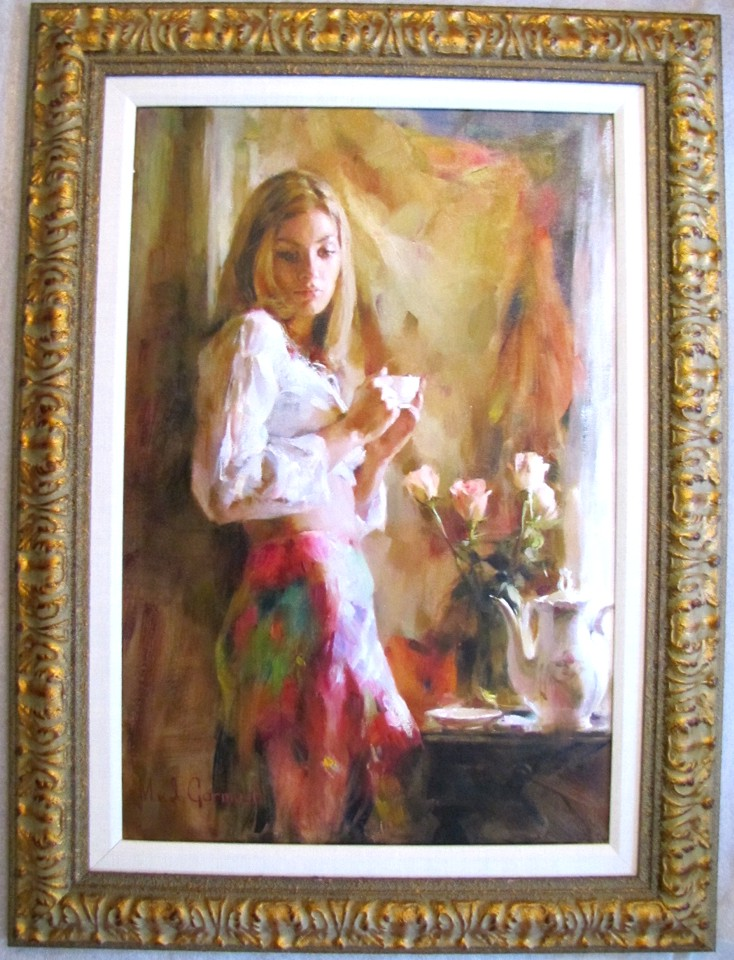Morning Coffe with Tea Roses - original painting - by Michael and Inessa Garmash