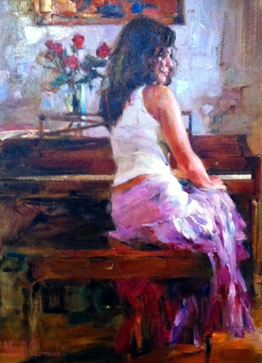 Silent Pause - original painting - by Michael and Inessa Garmash