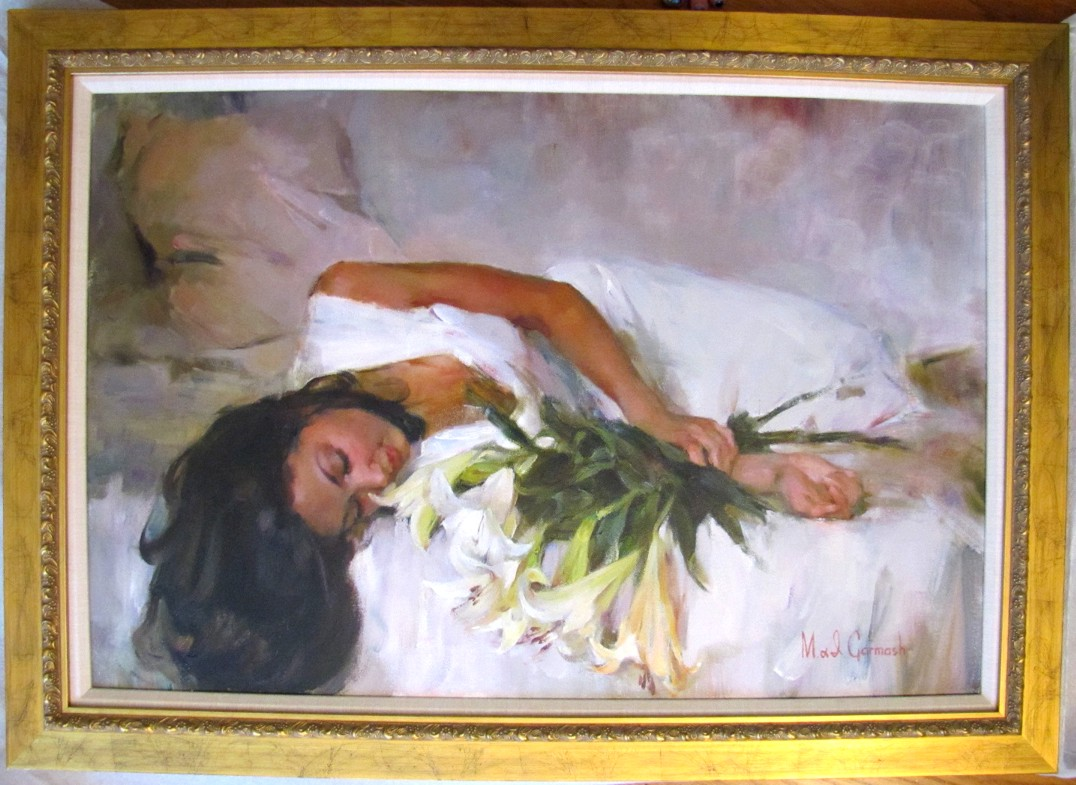 White Lilies - original painting - by Michael and Inessa Garmash