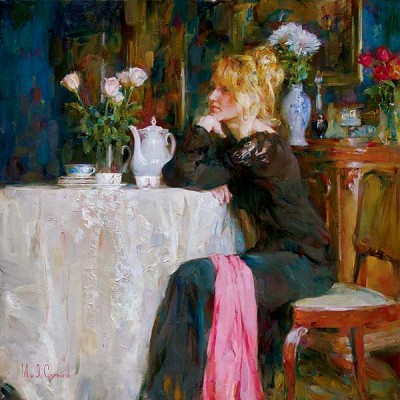 TEATIME DAYDREAMS  Giclee 30 x 30 inches Edition Size: 75 40 x 40 inches Edition Size: 15 by Michael and Inessa Garmash