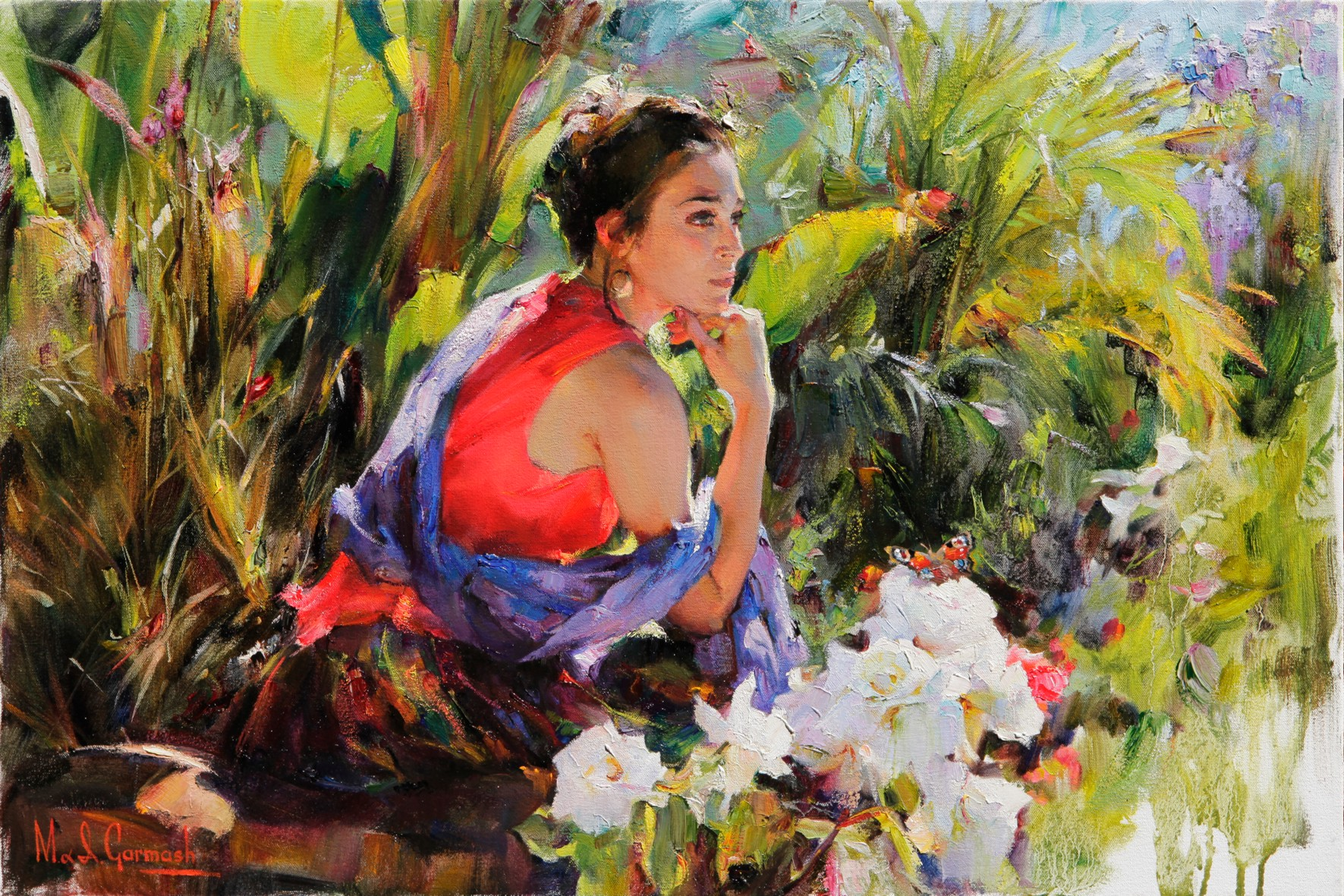 Watching a Butterfly - original painting - by Michael and Inessa Garmash