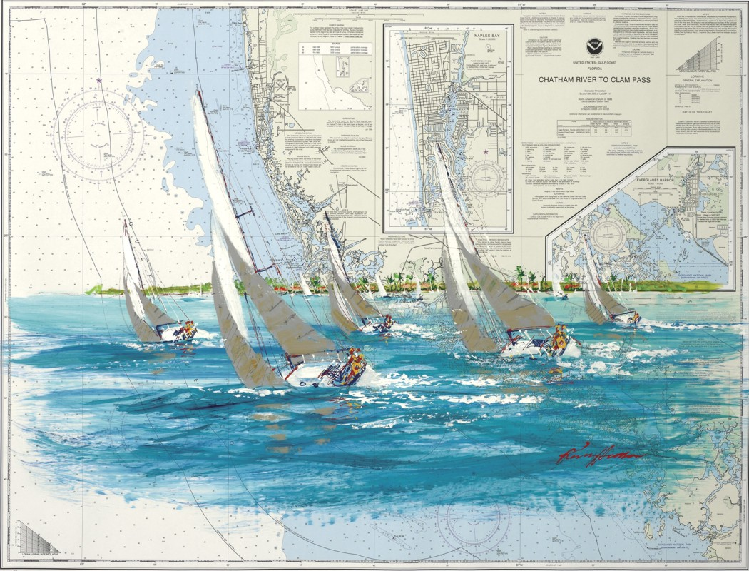 Kerry Hallam - Navigational Chart painting - Chatham River to Clam Pass