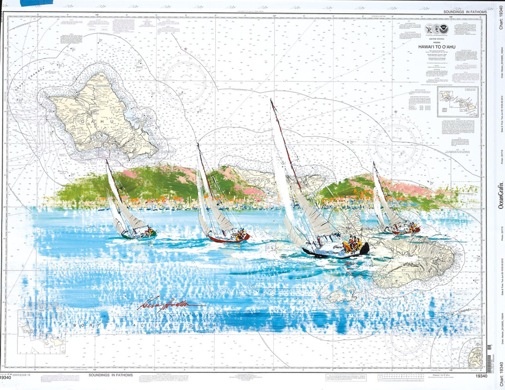 Kerry Hallam - Navigational Chart painting - Hawaii to Oahu