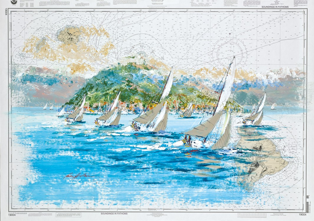 Kerry Hallam - Navigation Chart painting - Hawaiian Islands