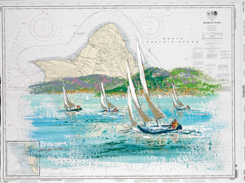 Kerry Hallam - Navigational Chart painting - Island of Oahu