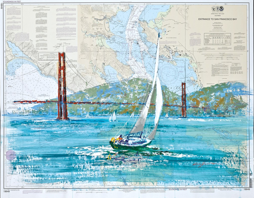 Kerry Hallam - Navigation Chart painting - San Francisco