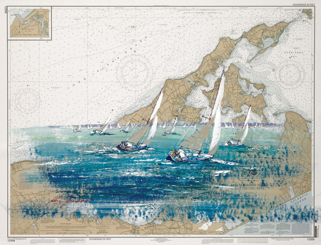 Kerry Hallam - Navigation Chart painting - Shelter Island