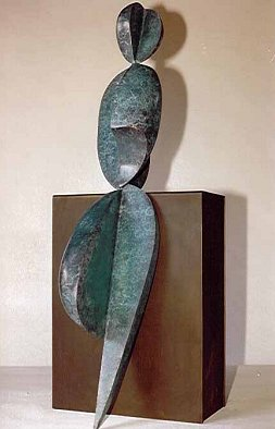 Robert Holmes - Bronze Sculpture - Positive/Negative Leaning Figure