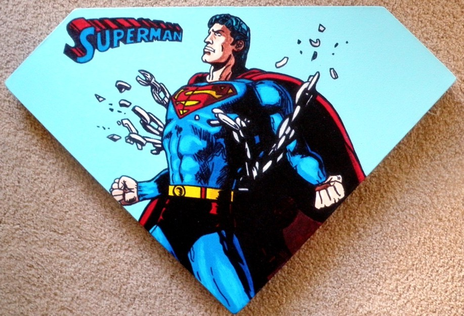 Steve Kaufman - Superman Shield original painting