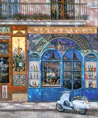 Barcelona, Antigua Casa Figueras  Serigraph on Canvas 24 x 20 by Liudmila Kondakova
