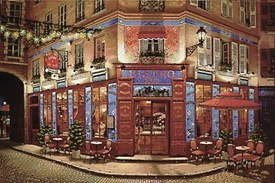 Bistro 1900  Deluxe on canvas Serigraph on Paper (white and black) 24 x 36 by Liudmila Kondakova