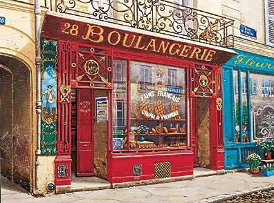 28 Boulangerie  Deluxe on canvas Serigraph on Paper 18.25 x 24.25 by Liudmila Kondakova