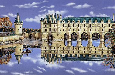 Chenonceaux  Serigraph on Coventry smooth white paper or Koji Japon paper, paper size: 21 x 28 image size: 16 x 23 by Liudmila Kondakova