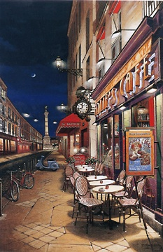 Folie's Cafe  Deluxe on canvas Serigraph on Paper (Ebony black) 36 x 24 by Liudmila Kondakova