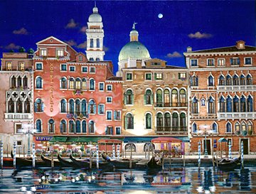Hotel Rialto  Deluxe on canvas Serigraph on Paper (white and black) 27 X 36 by Liudmila Kondakova