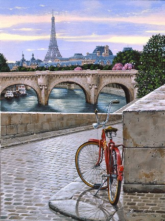 DAYBREAK ON THE SEINE  Hand-pulled Deluxe serigraph on Gesso Board 16 x 12 inches Edition size 325 by Liudmila Kondakova