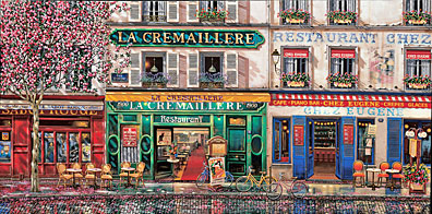 LES TROIS CAFE  Hand-pulled Deluxe serigraph on Gesso Board 23 x 46 inches Edition size 325 by Liudmila Kondakova