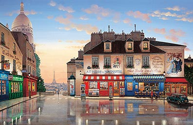 MONTMARTRE MORNING  Hand-pulled Deluxe serigraph on Gesso Board 26 x 40 inches Edition size 325 by Liudmila Kondakova