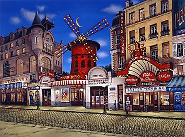 Moulin Rouge  Serigraph on Coventry smooth White paper or Ebony black paper, paper size: 32 x 41 image size: 27 x 36 by Liudmila Kondakova