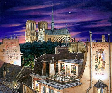 Notre Dame at Dusk  Deluxe on canvas Serigraph on Paper 30.125 x 36.125 by Liudmila Kondakova