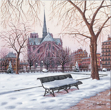 Nortre Dame in Winter  Serigraph on Canvas 16 x 16 by Liudmila Kondakova