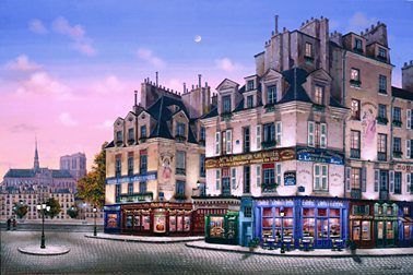 Notre Dame at Dawn  Deluxe on canvas Serigraph on Paper (white and black) 24 x 36 by Liudmila Kondakova