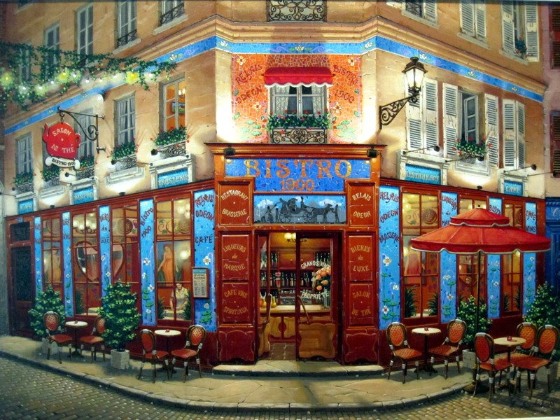 BISTRO 1900 - Original painting on canvas by Liudmila Kondakova