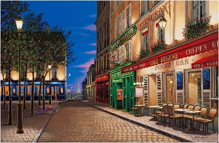 PARIS NOCTURNE  Hand-pulled serigraph on gesso board 26 x 40 inches Edition size: 325 by Liudmila Kondakova