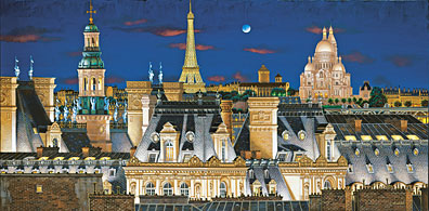 PARIS ROOFTOPS AT NIGHT  Hand-pulled Deluxe serigraph on Gesso Board 23 x 46 inches Edition size 325 by Liudmila Kondakova