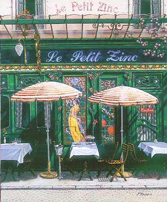 Paris, Le Petit Zinc  Serigraph on Canvas 24 x 20 by Liudmila Kondakova