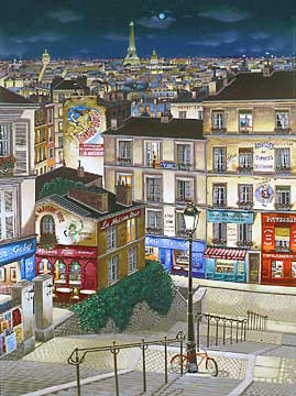 Paris Ville Lumi�re  Deluxe on canvas Serigraph on Paper 40 x 30 by Liudmila Kondakova