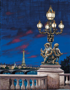Pont Alexandre  Serigraph on Canvas 17.5 x 14 by Liudmila Kondakova
