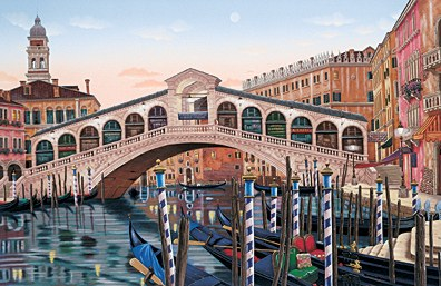 Rialto Bridge at Sunset  Deluxe on canvas Serigraph on Paper 36 x 40 by Liudmila Kondakova