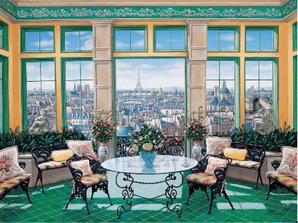 ROOM WITH THE VIEW  Hand-pulled serigraph on gesso board 27 x 36 inches Edition size: 325 by Liudmila Kondakova
