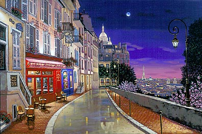 Rue de Lille  Deluxe on canvas Ed. 225 Serigraph on Paper Ed. 100 24 x 36 by Liudmila Kondakova
