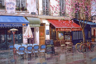 Springtime in Paris  Deluxe on canvas Serigraph on Paper 24.25 x 36.25 by Liudmila Kondakova