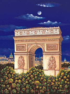ARC DE TRIOMPHE  Hand-pulled Deluxe serigraph on Gesso Board 17.5 x 13 inches Edition size 325 by Liudmila Kondakova
