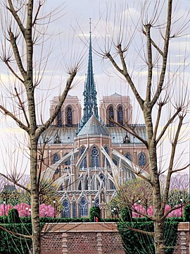 CATHEDRAL NOTRE-DAME  Hand-pulled Deluxe serigraph on Gesso Board 17.5 x 13 inches Edition size 325 by Liudmila Kondakova