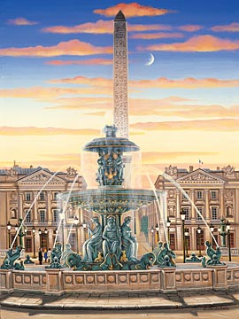 PLACE DE LA CONCORDE  Hand-pulled Deluxe serigraph on Gesso Board 17.5 x 13 inches Edition size 325 by Liudmila Kondakova
